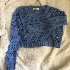 Blue cableknit crop top sweater (Forever 21)